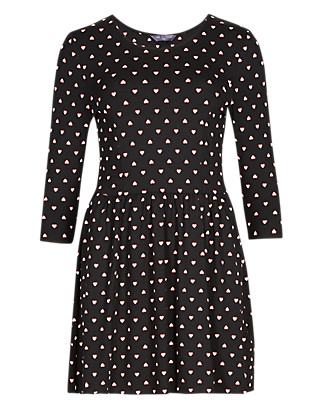 PETITE Ditsy Heart Print Skater Tunic Clothing