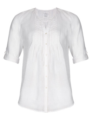 PLUS Pure Linen Pleated Blouse Clothing