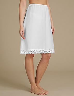 Pure Cotton Vintage Lace Trim Waist Slip, WHITE, catlanding