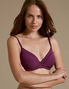 2 Pack Cotton Rich Padded Underwired Full Cup T-Shirt Bras A-E