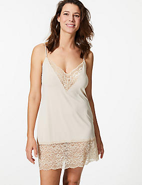 Louisa Lace Trim Full Slip, ALMOND, catlanding