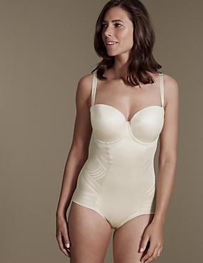 Firm Tummy Control Magicwear™ Geometric Strapless Body DD-G, ALMOND, catlanding