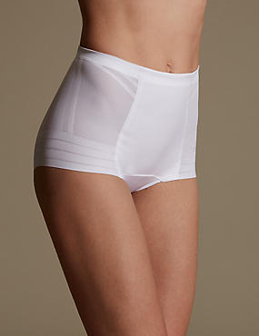 Firm Control Magicwear™ Geometric Low Leg Knickers, WHITE, catlanding