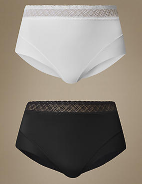 2 Pack Light Control No VPL Lace Trim Waistband Full Briefs