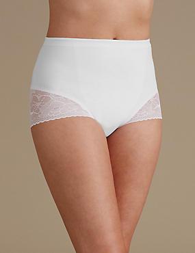 Secret Slimming™ Floral Lace Low Leg Knickers, WHITE, catlanding