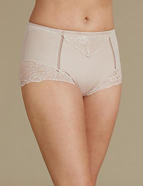 Medium Control Lace High Leg Knickers , ALMOND, catlanding