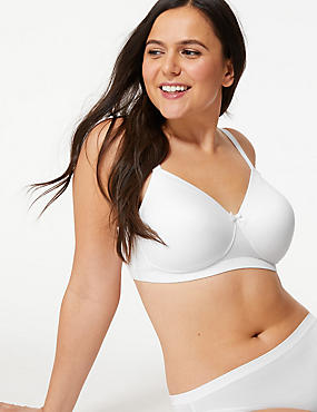Post Surgery Padded Full Cup Bra A-E, WHITE, catlanding