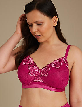 Post Surgery Floral Embroidered Full Cup Bra A-E