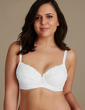 Post Surgery Non-Padded Full Cup Bra A-DD, WHITE, catlanding