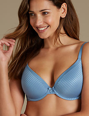 Sumptuously Soft Padded Plunge T-Shirt Bra A-DD, DUSTY BLUE, catlanding