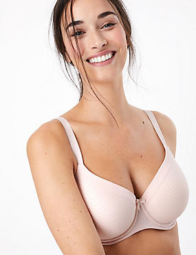 Sumptuously Soft Ultimate Comfort Underwired Striped Full Cup T-Shirt Bra