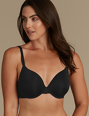 Smoothlines™ Padded Balcony T-Shirt Bra A-E, BLACK, catlanding