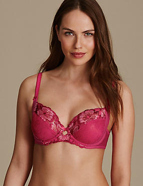 Floral Embroidered Non Padded Balcony Bra B-E