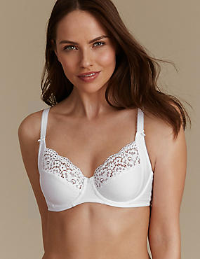 Vintage Lace Cotton Rich Non-Padded Full Cup Bra B-E