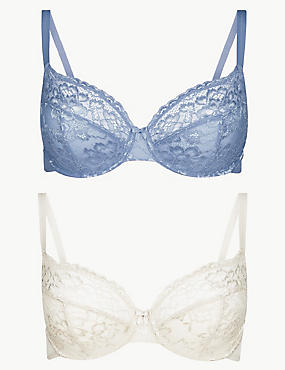 2 Pack Louisa All Over Lace Non-Padded Full Cup Bras B-DD, BLUE MIX, catlanding