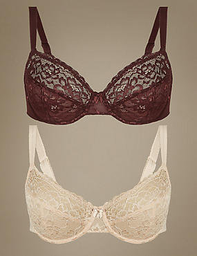 2 Pack Louisa All Over Lace Non-Padded Full Cup Bras B-DD, MAHOGANY, catlanding