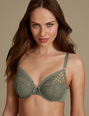 Trellis Lace Underwired Non-Padded Full Cup Bra B-E