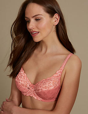 Jacquard & Lace Set with Non-Padded Full Cup A-DD