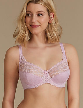 Jacquard Lace Non-Padded Full Cup Bra A-DD, DUSTED PINK, catlanding