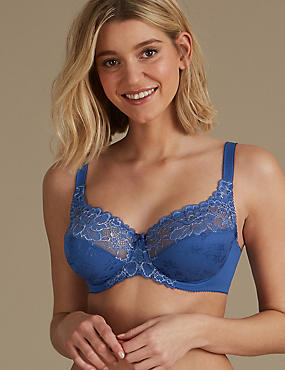 Floral Jacquard Lace Non-Padded Full Cup Bra A-DD, CORNFLOWER, catlanding