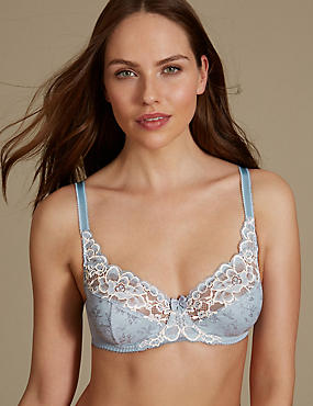 2 Tone Floral Lace Full Cup Bra A-DD