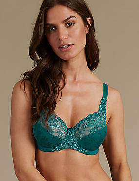 Floral Jacquard & Lace Set with Underwired A-DD