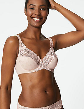 Floral Jacquard Lace Underwired Full Cup Bra A-DD , ALMOND, catlanding