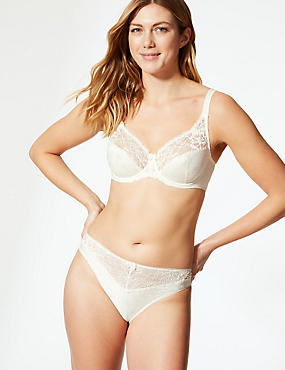 Floral Jacquard Lace Non-Padded Full Cup Bra A-DD , LIGHT CREAM, catlanding