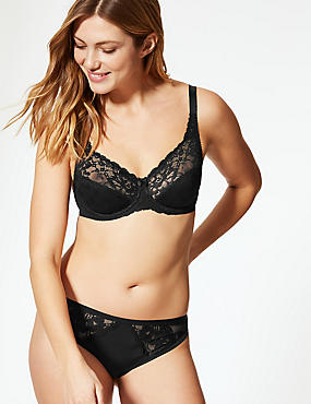 Floral Jacquard Lace Underwired Full Cup Bra A-DD , BLACK, catlanding