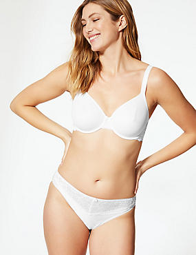 Lace Wing Smoothing Underwired Non-Padded Bra B-E, WHITE, catlanding
