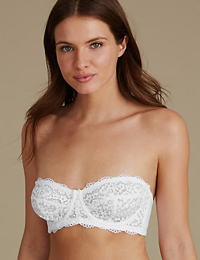 Lace Non-Padded Multiway Strapless Bra A-E, WHITE, catlanding
