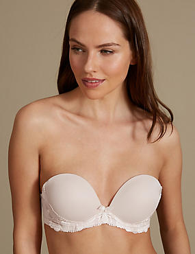 Flora Embroidered Padded Push-up Strapless Bra A-E