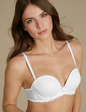 Flora Embroidered Padded Push-up Strapless Bra A-E, WHITE, catlanding