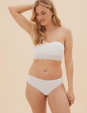 Lace Bandeau Strapless Bra, WHITE, catlanding
