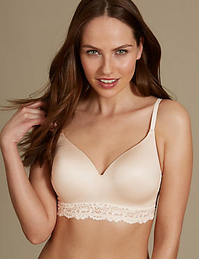 Lace Trim Padded Full Cup T-Shirt Bra AA-E