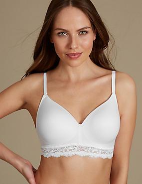 Lace Trim Padded Full Cup T-Shirt Bra AA-E, WHITE, catlanding