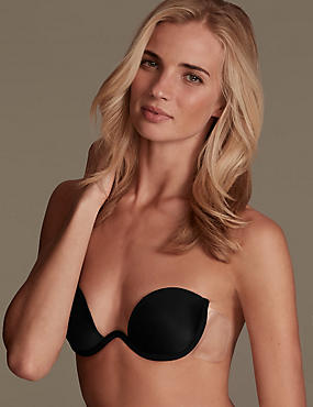 Stick On Adhesive Backless Bra, BLACK, catlanding