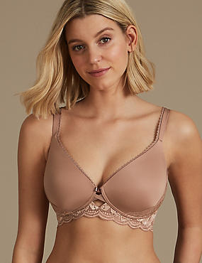 Perfect Fit Non-Wired Longline Plunge Bra A-E, NUTMEG, catlanding