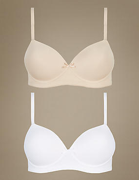 2 Pack Non-Wired Full Cup T-Shirt Bras AA-E, WHITE MIX, catlanding