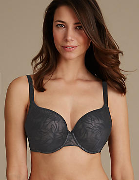 Feather Mesh Spacer Padded Plunge Bra DD-G