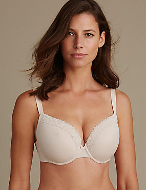 2 Pack Isabella Lace Trim Padded Plunge T-Shirt Bras DD-G