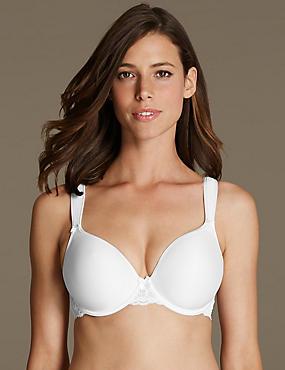 Fleur Lace Underwired Plunge T-Shirt Bra DD-G, WHITE, catlanding