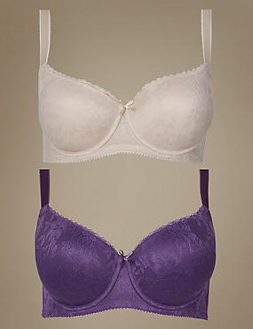 2 Pack Padded All Over Lace Balcony Bra DD-G