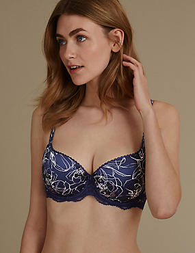 Perfect Fit Floral Padded Underwired Balcony Bra AA-E