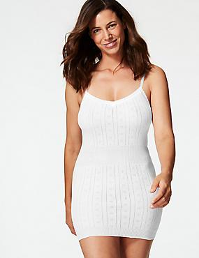Secret Slimming™ Pure Cotton Ribbed Pointelle Vest, WHITE, catlanding