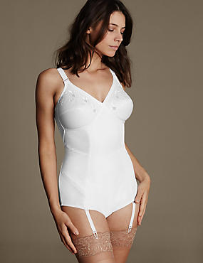 Firm Control Traditional Corselette, WHITE, catlanding