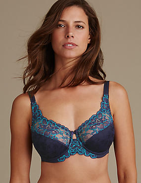 2 Tone Floral Lace Full Cup Bra DD- H