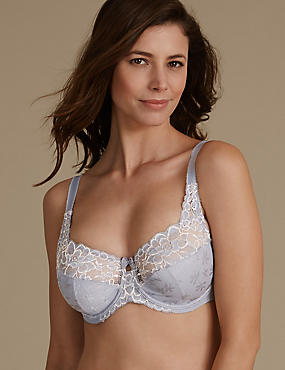 2 Tone Floral Lace Full Cup Bra DD-H, , catlanding