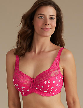 Floral Jacquard Lace Non-Padded Full Cup Bra DD-H, BRIGHT PINK MIX, catlanding