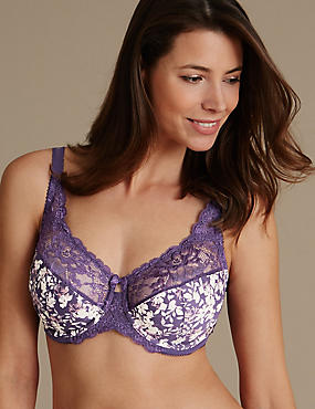 Jacquard Print Underwired Non Padded Full Cup Bra DD-H